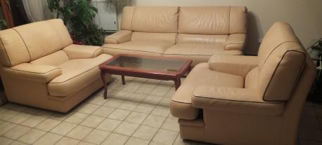 canapé cuir vachette et deux fauteuils assortis Les Vieilles Choses