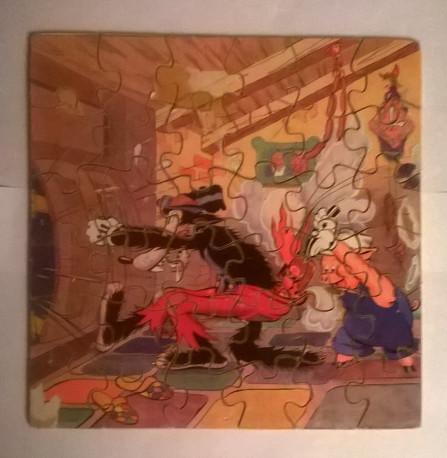 Lot de 3 puzzles ancien ssur bois série 3 petits cochons W. Disney