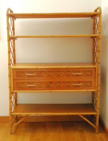 Grande étagère en bois, rotin, bambou Vintage