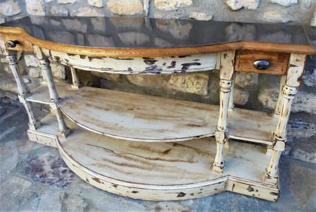 Console bois et acier poli vintage