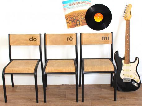 Trio de chaises d'école type Mullca enfant