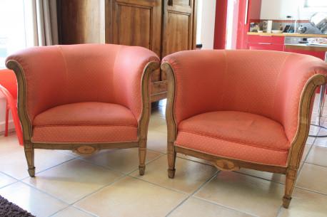 canapé et 2 fauteuils tonneau