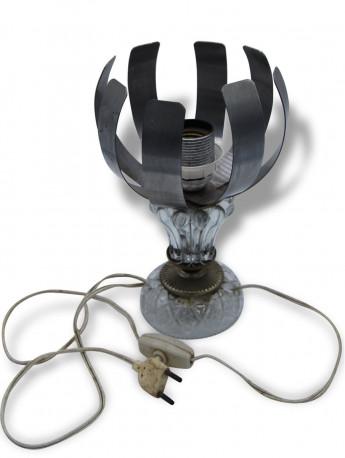 Lampe vintage à poser 70's inox fleur lumière vintage