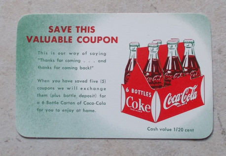 Coupon Save This Value Coupon 1950's Coca Cola Coke Soda Collection Publicité