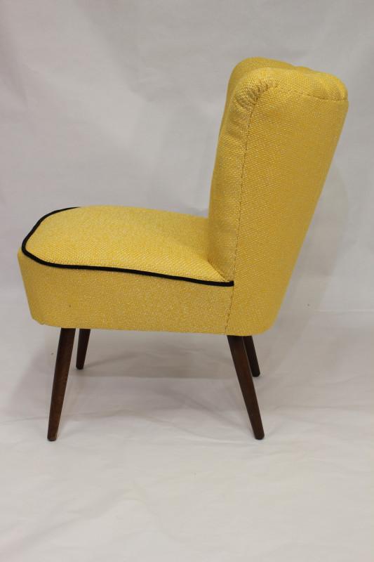 fauteuil cocktail vintage des annes 50 tissu lelievre jaune prcdent suivant - Fauteuil Cocktail Vintage