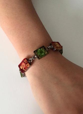Bracelet argent, fleurs naturelles, résine