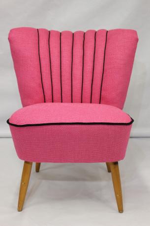 fauteuil cocktail vintage des annes 50 tissu lelievre rose - Fauteuil Cocktail Vintage