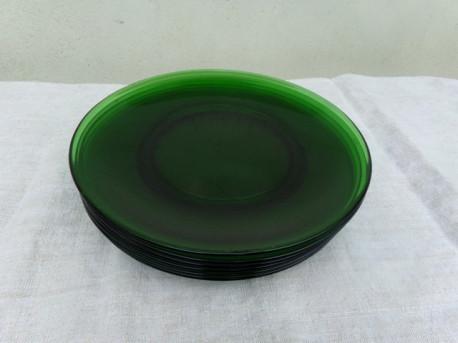 6 assiettes plate en verre - vert - vintage