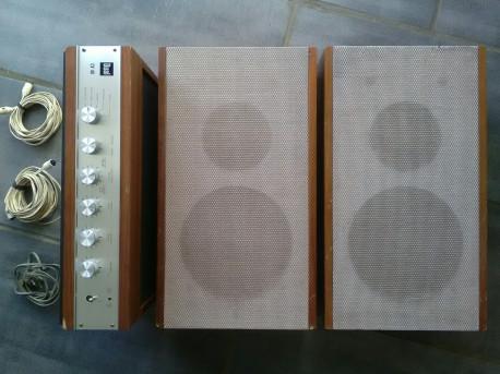 Set DUAL ENCEINTES CL14 + AMPLIFICATEUR CV 40 + CÂBLES VINTAGE HIFI stereo AMPLI Fin 60's, début 70's Bois / aluminium En