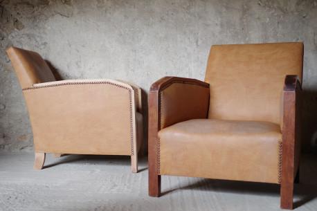 fauteuils art dco cuir clout bois chne courbe - Fauteuil Art Deco