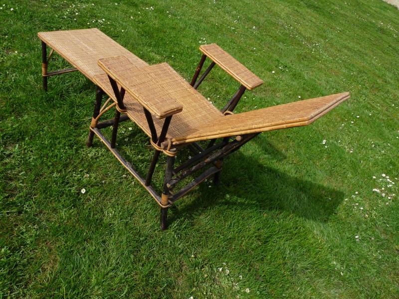 chaise longue vintage osier et rotin 1930 env