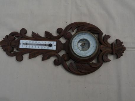 barométre thermométre ancien avec plaque émaillée