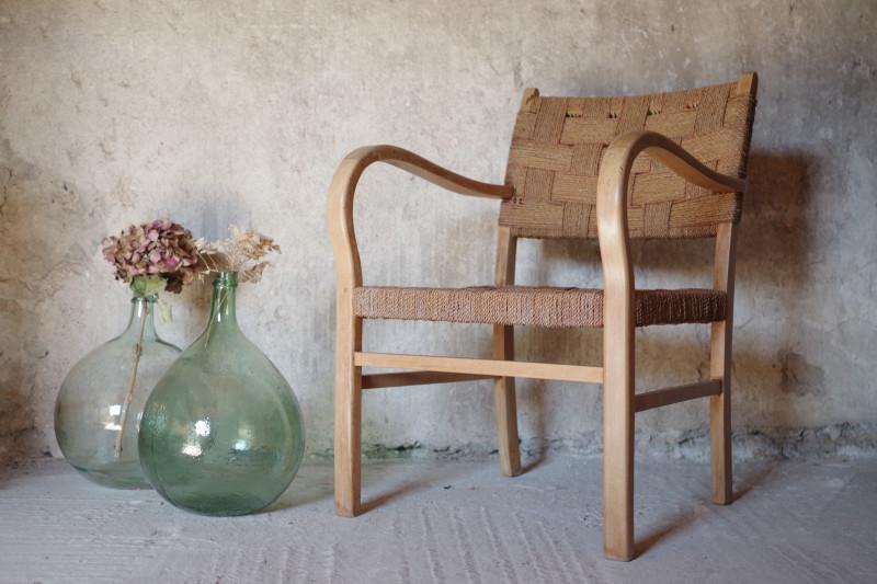 fauteuil bridge corde bois courb vintage ann es 60 les vieilles choses. Black Bedroom Furniture Sets. Home Design Ideas