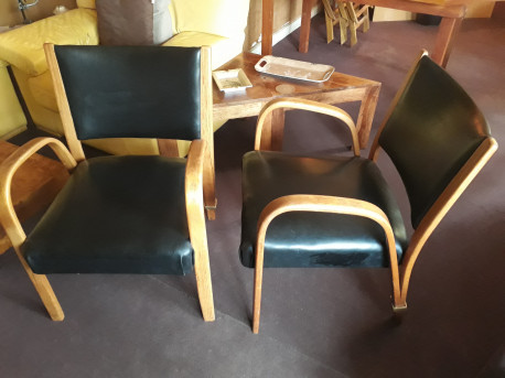 Paire de fauteuils Steiner Bow Wood vintage