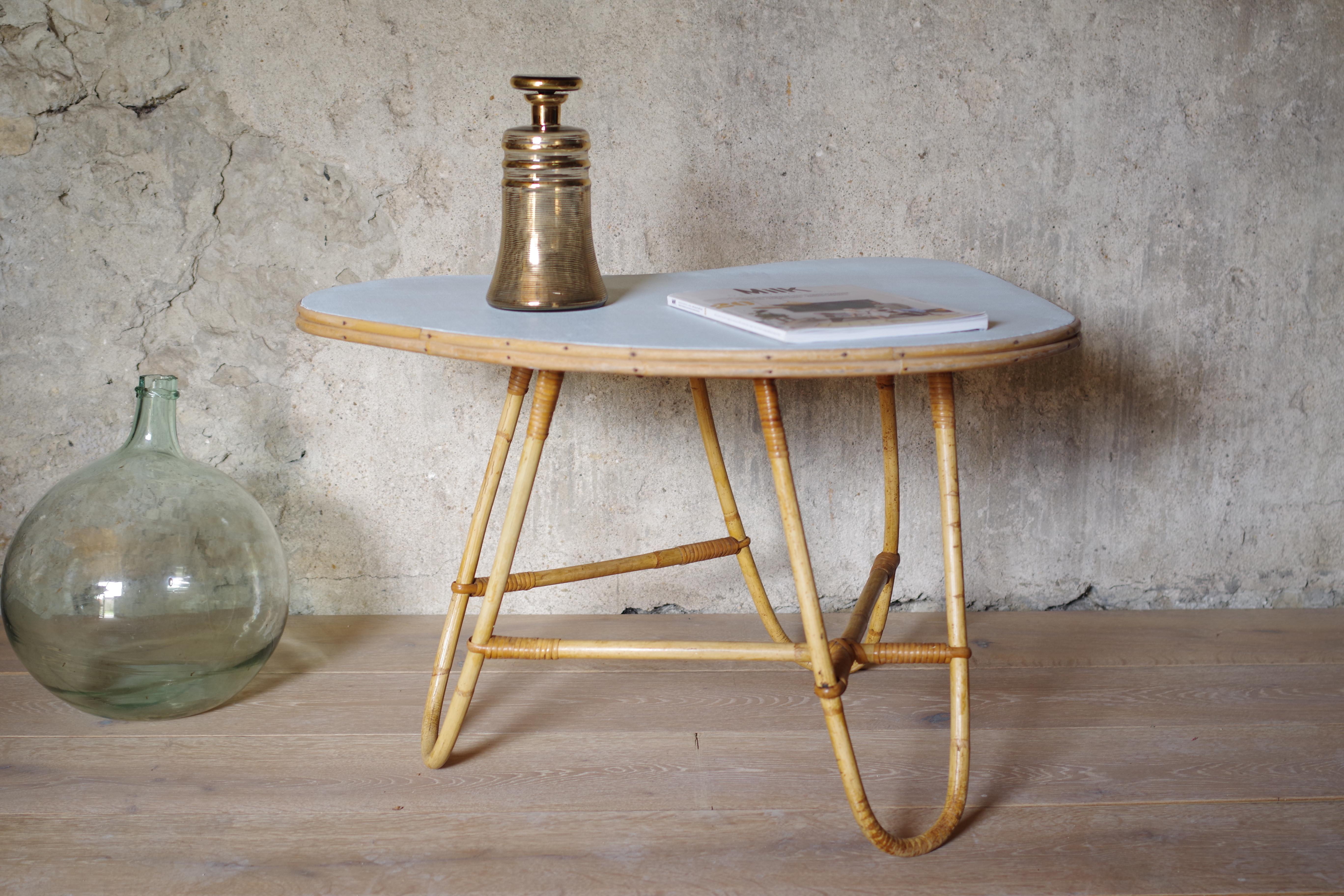 Table Basse Bambou Rotin Plateau Haricot Vintage Les Vieilles Choses