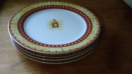 Assiettes signées palluy série décor ethnique