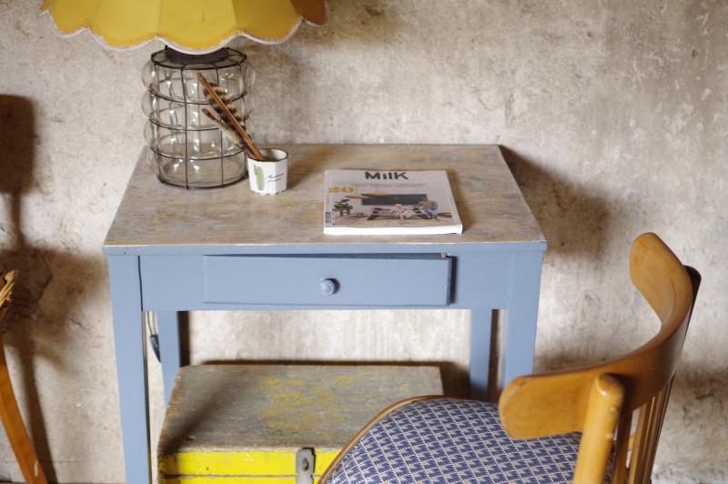 Bureau sécrétaire table rétro ancienne bois gris atelier années