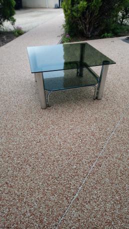 table de salon double plateau verre fumé vintage