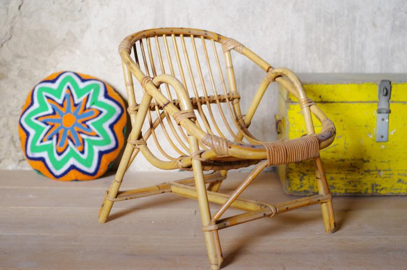 fauteuil enfant rotin vintage r tro ann es 60 osier bambou boh me les vieilles choses. Black Bedroom Furniture Sets. Home Design Ideas