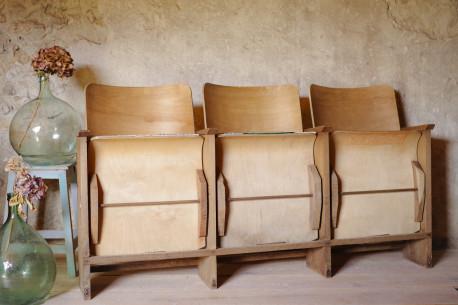 Fauteuil sièges cinéma triple ancien annéees 40-50 bois vintage industriel