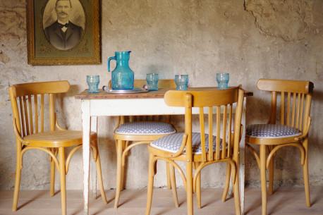 Chaises de cuisine ou de salle à manger anciennes vintage bistrot série lot de 4