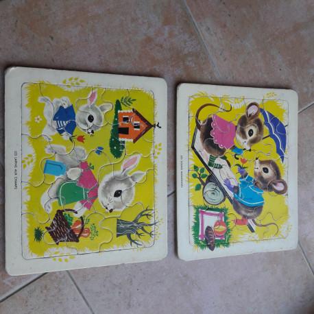 2 puzzles en carton années 70