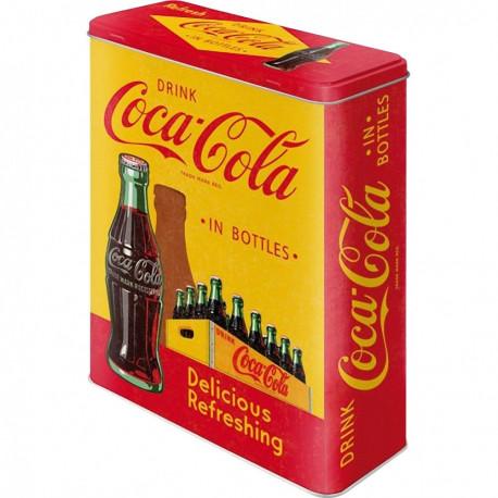 Boite métal Coca Cola rétro Jaune