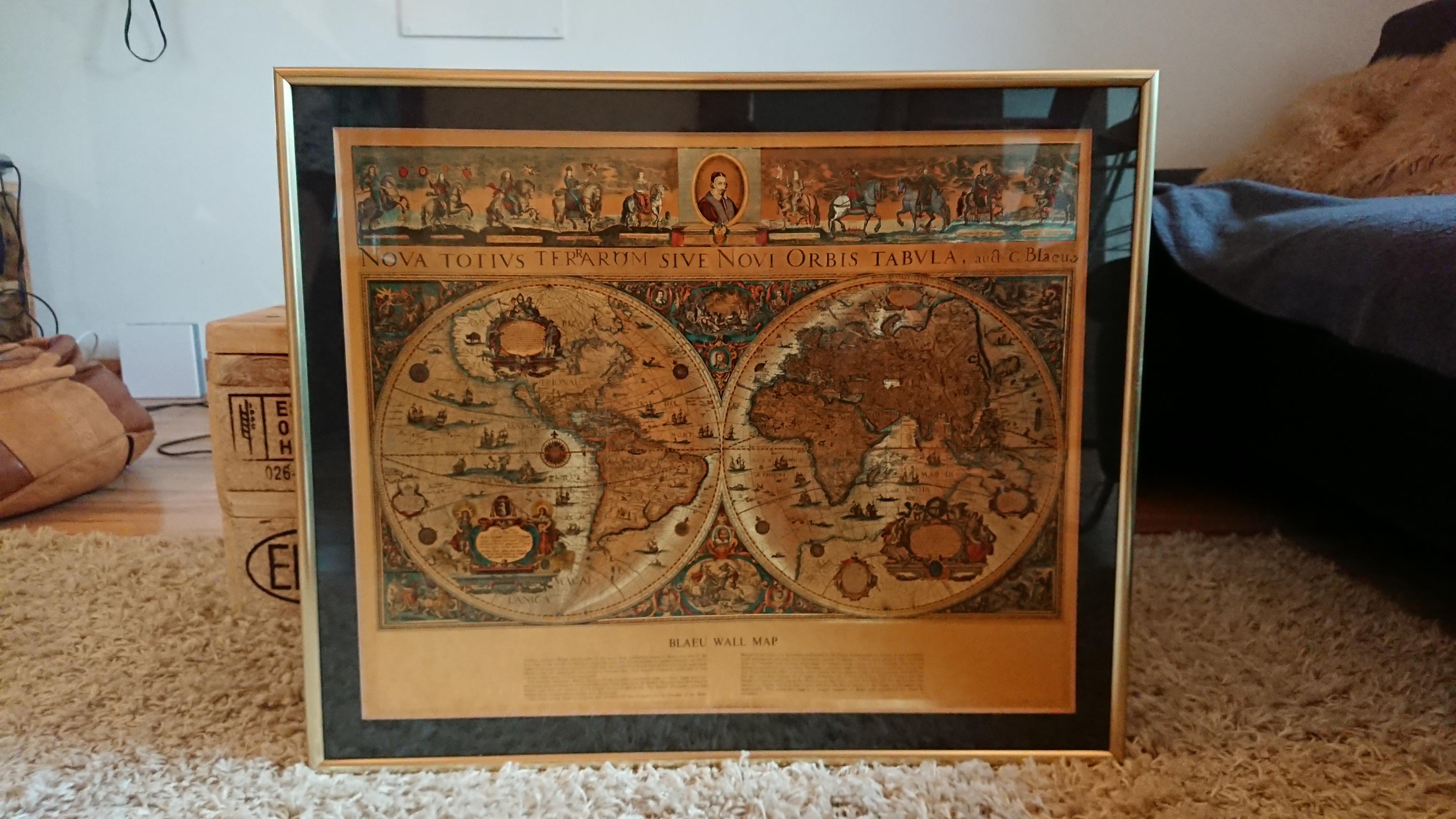 Du Blaeu Map Carte Vintage Monde Wall UqzMpVGS