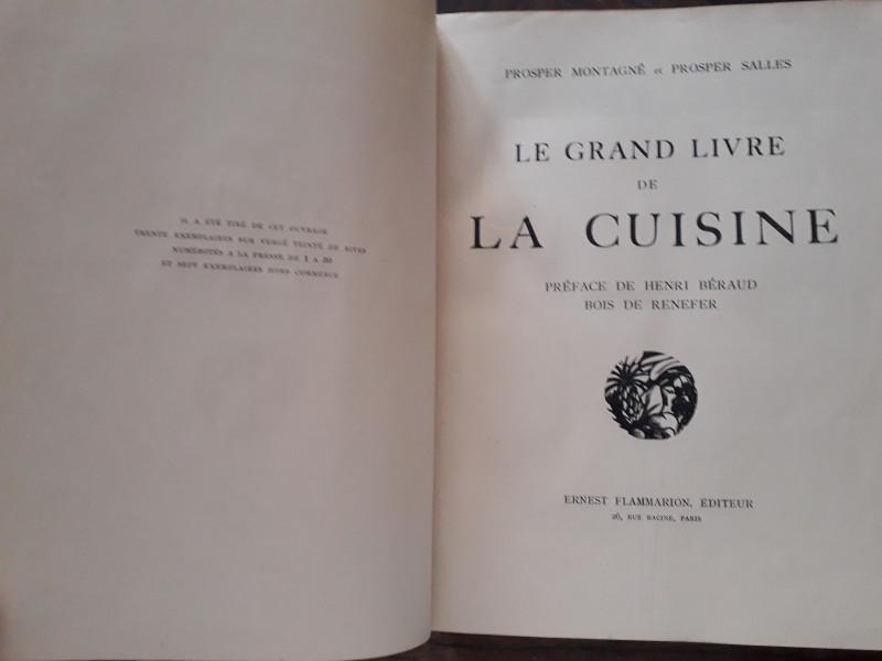 Livre De Cuisine Ancien Grand Livre De La Cuisine Par P Montagne Et P Salles