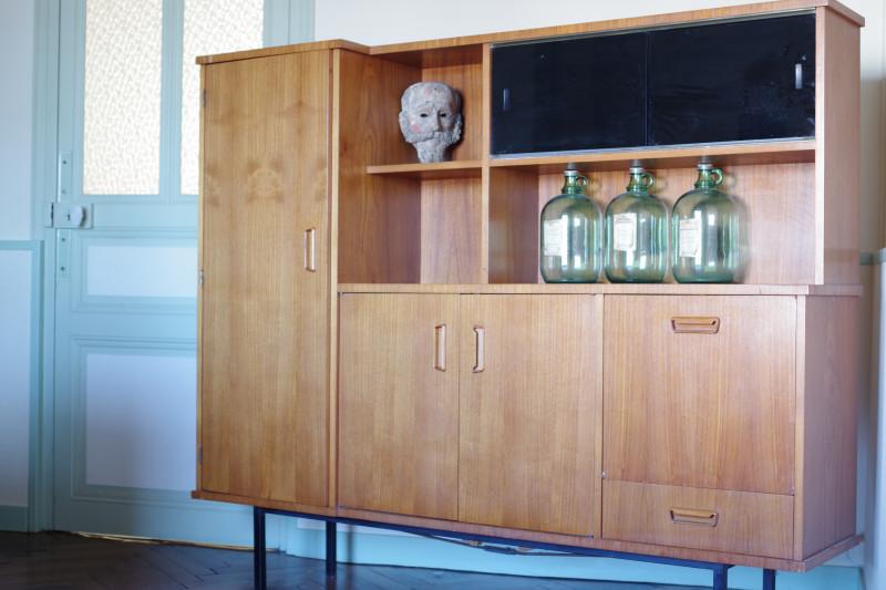 meuble de rangement vitrine biblioth que teck ann es 60 ancien les vieilles choses. Black Bedroom Furniture Sets. Home Design Ideas