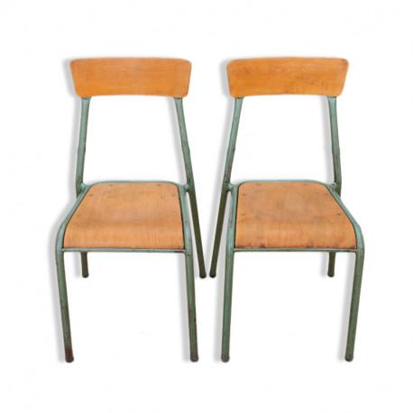 stella paire de chaises dcole en bois et mtal des anne 1960 - Des Chaises