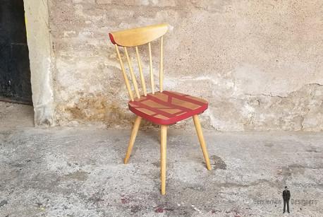 Chaise bureau bois motif graphique rouge les vieilles choses