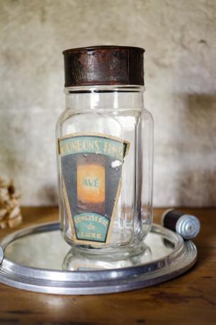 Flacon bonbonnière bonbonne verre couvercle acier patiné bonbons vintage ancien vintage