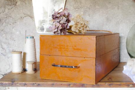 Boîte bois ancienne poignée chromée tiroir vintage rangement coffre à joues ancien