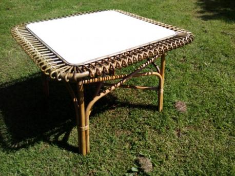 table rotin soleil carré vintage