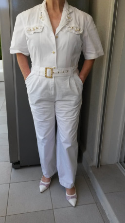 COMBINAISON Blanche habillée vintage
