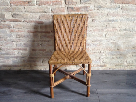 Chaise en rotin et en osier vintage