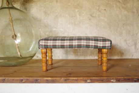 Tabouret banc guéridon rustique ancien bois tissu écossais ferme