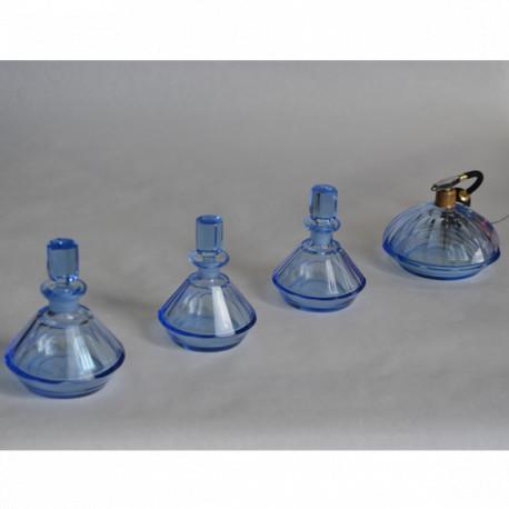 Ensemble garniture de toilette Art Déco en cristal teinté bleu