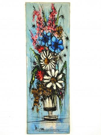 """Peinture sur toile """" Bouquet de fleurs """" années 60"""