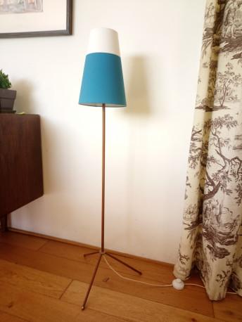 lampe trépied bois/bleu vintage