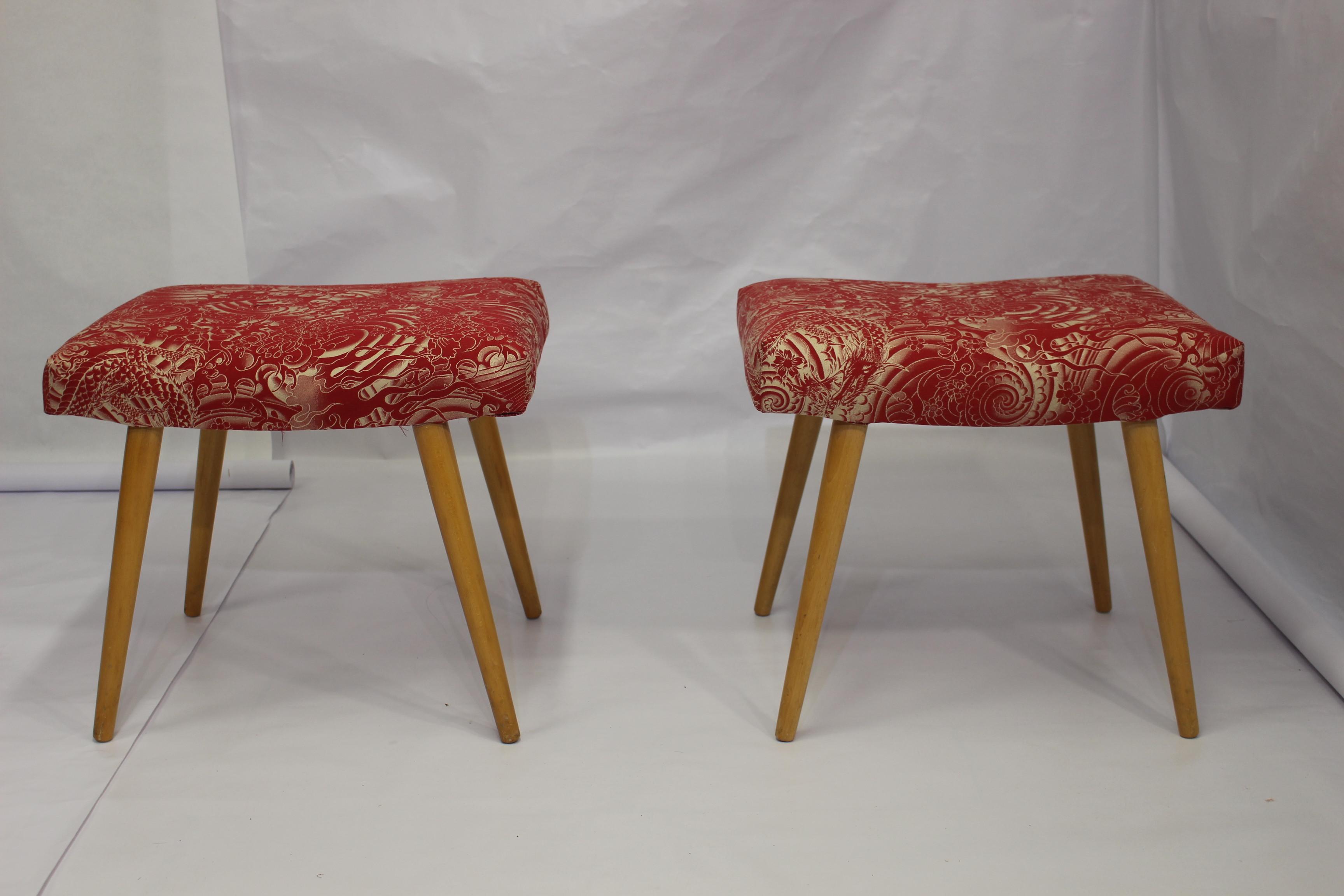 Tissu Jean Paul Gaultier paire de tabourets vintage tissu jean paul gaultier
