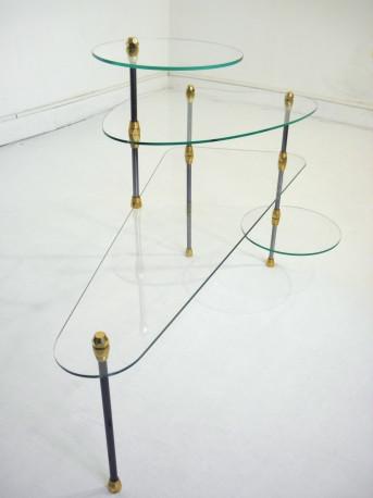 Table basse en verre et métal à plateaux modulables 1960