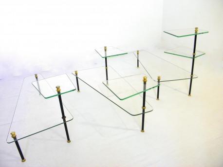 Lot de tables basses en verre à plateaux modulables 1960