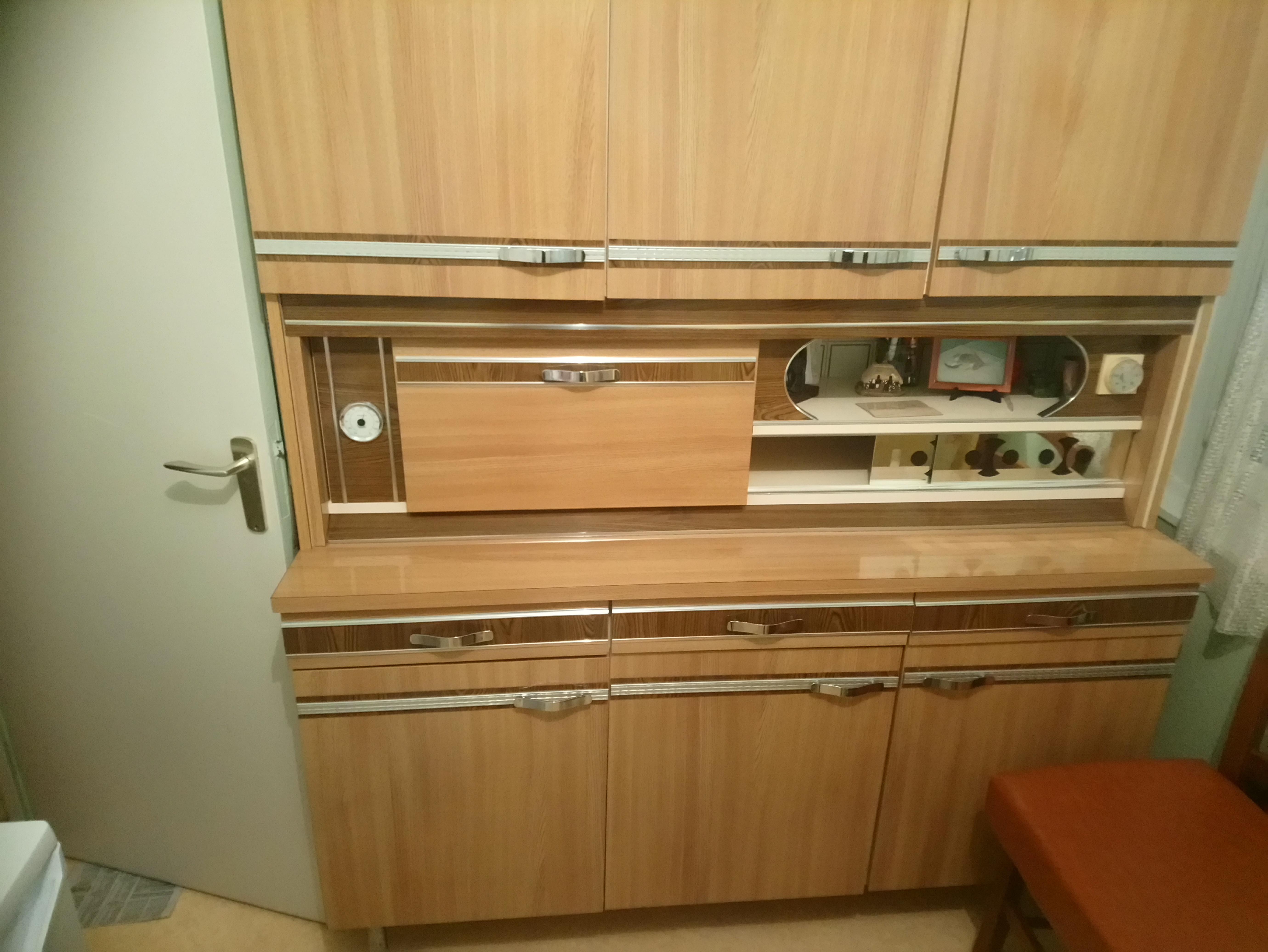 Meuble cuisine en formica marron clair vintage année 70 - Les ...