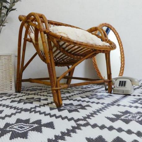 Fauteuil rotin et bambou vintage design baquet 1960