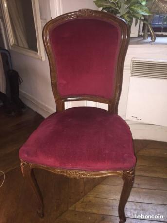 Chaise ancienne en bois et velours XIXe