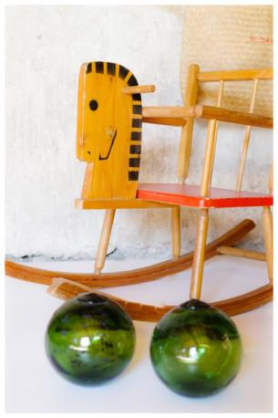 Cheval à bascule bois vintage