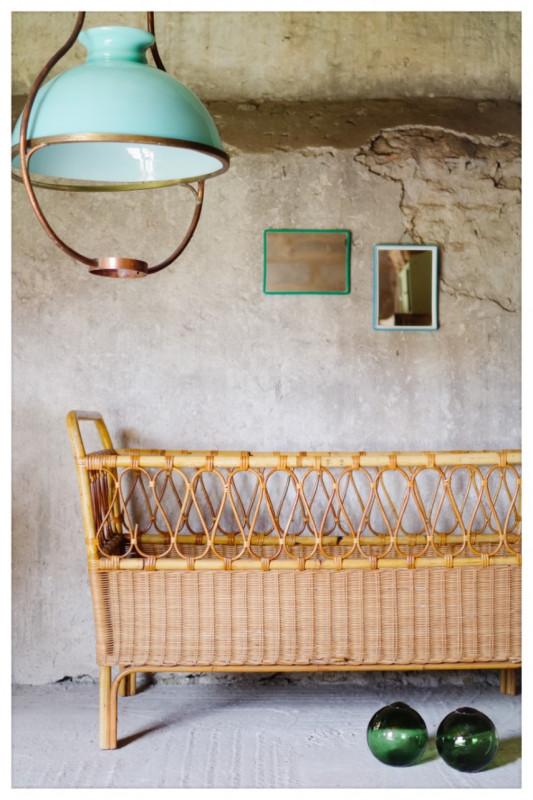 lit rotin b b ancien vintage ann es 60 les vieilles choses. Black Bedroom Furniture Sets. Home Design Ideas