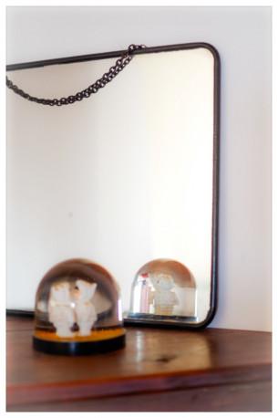 Miroir de barbier vintage acier